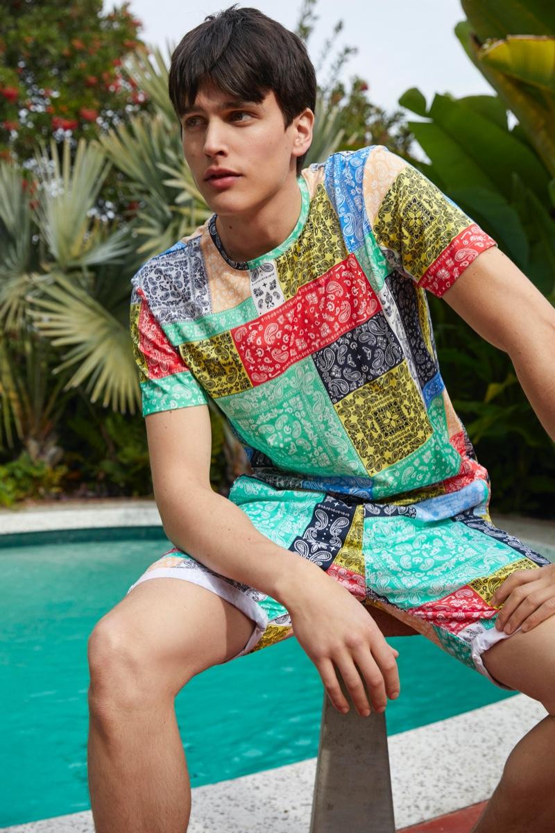 Simon Van Meervenne rocks a coordinated bandana print look from Esprit.