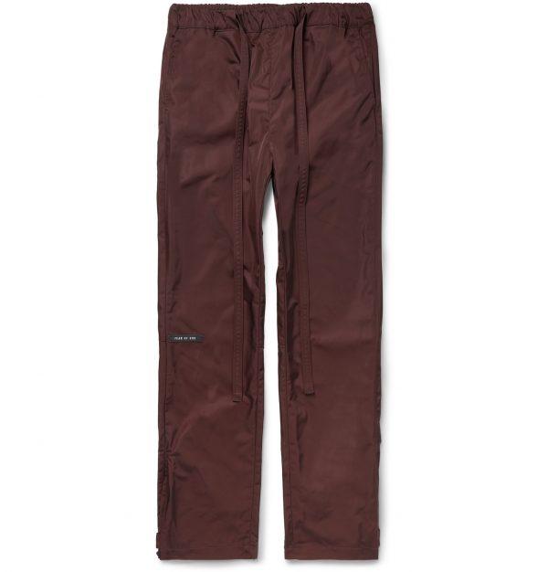 Fear of God - Black Slim-Fit Belted Logo-Appliquéd Nylon-Twill Trousers - Men - Burgundy