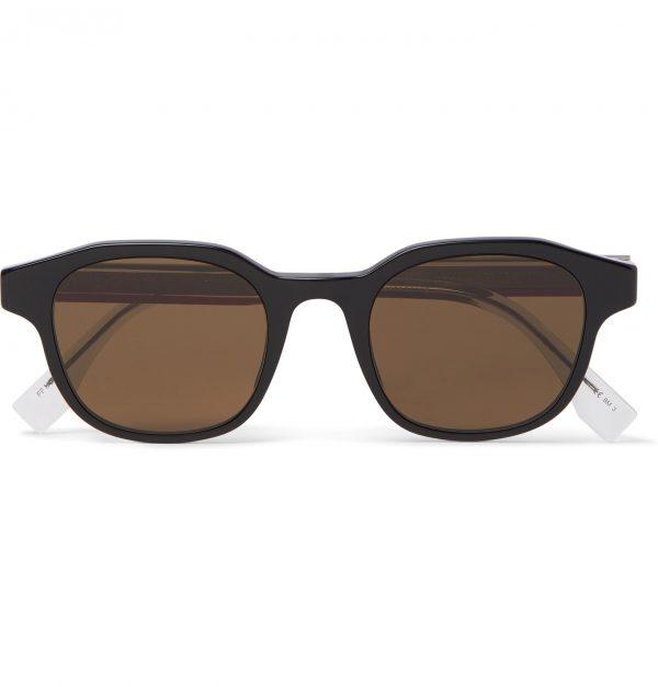 Fendi - Square-Frame Acetate and Silver-Tone Sunglasses - Men - Black