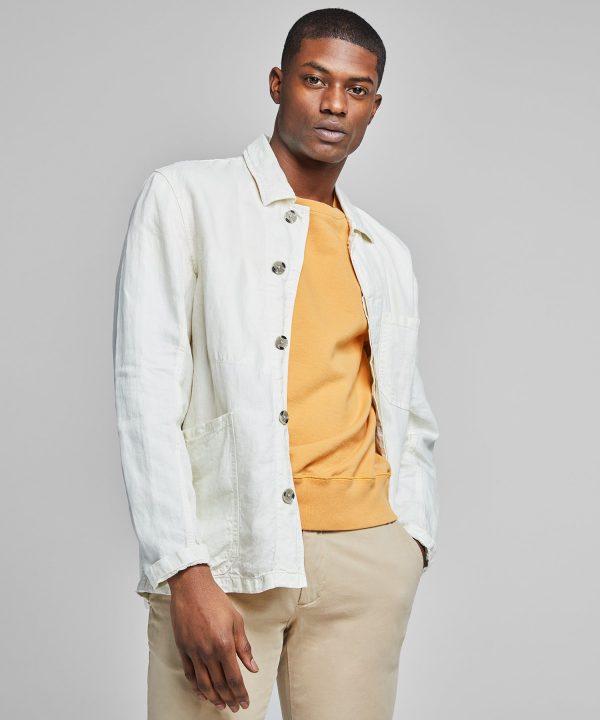 Garment Dyed Linen Chore Coat in White