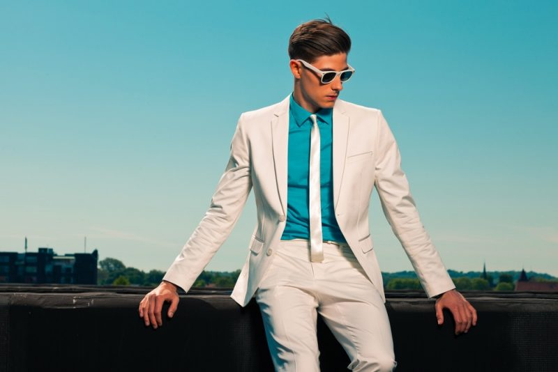 Guy in Colorful White Suit Look