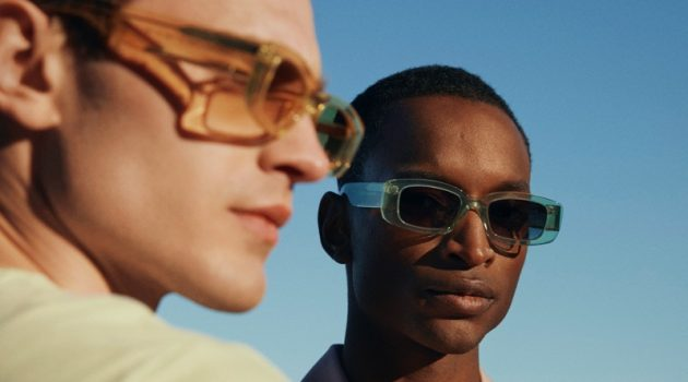 Bo Develius and Oliver Kumbi model sunglasses from the H&M x CHIMI collaboration.