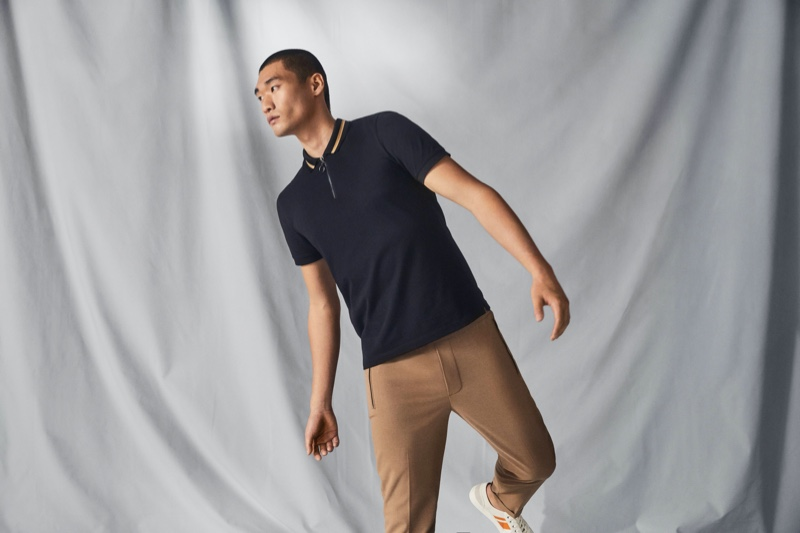 Reuniting with H&M for summer, Kamui Tanaka models a polo shirt from the brand's Coolmax range.