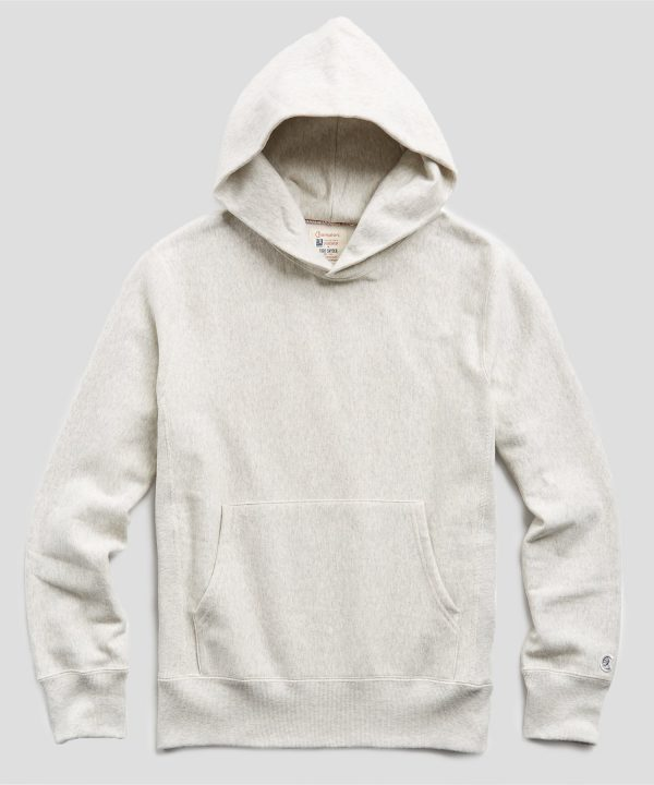Heavyweight Popover Hoodie Sweatshirt in Eggshell Mix