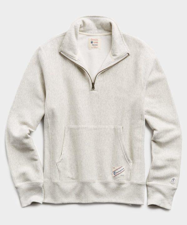 Heavyweight Quarter Zip Sweatshirt in Eggshell Mix