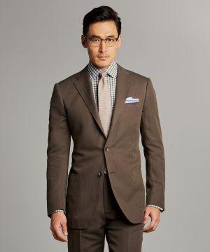 Herringbone Linen Sack Suit Jacket in Brown