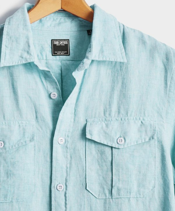 Italian Two Pocket Linen Safari Long Sleeve Shirt in Teal