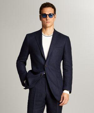 Linen Sack Suit Jacket in Indigo