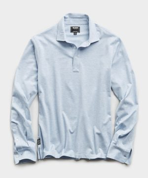 Long Sleeve Stretch Dress Pique Polo in Light Blue