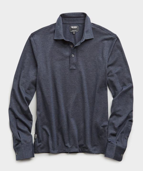 Long Sleeve Stretch Dress Pique Polo in Navy