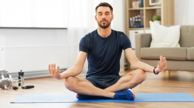 Man Indoors Meditation