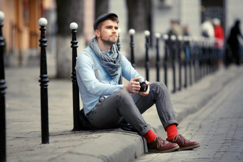 Man with Colorful Stylish Socks