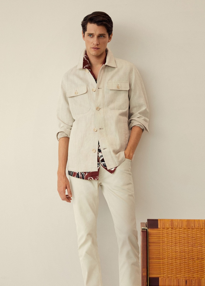 Dressed for summer, Luke Powell sports a linen-blend number from Mango.
