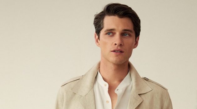 Luke Powell dons a chic linen look from Mango.