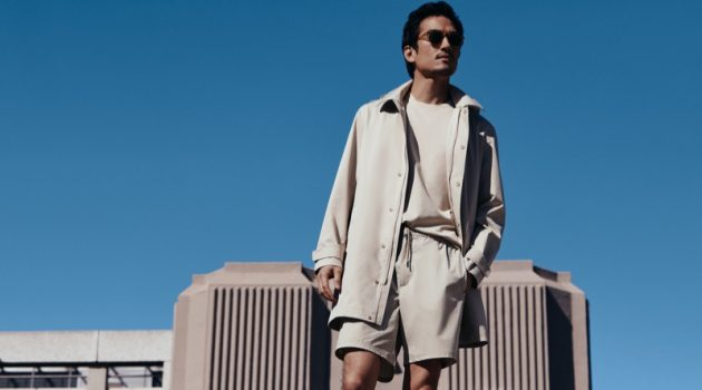 Tony Chung dons a neutral-colored look from Mango for the brand's Improved collection campaign.