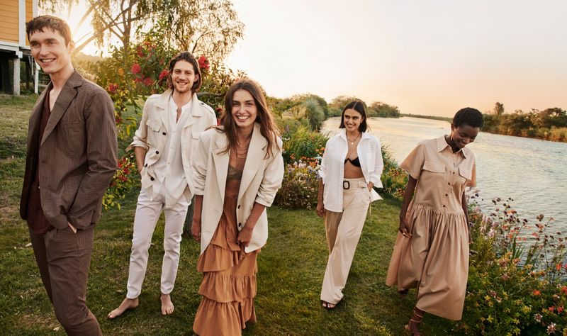 Anders Hayward, Boyd Gates, Andreea Diaconu, Jill Kortleve, and Oumie Jammeh come together for Mango's summer 2020 campaign.