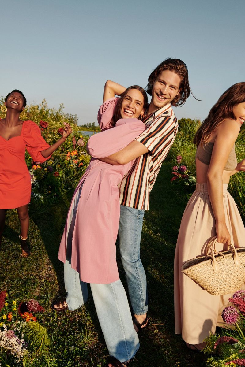 All smiles, Oumie Jammeh, Kaya Wilkins, Boyd Gates, and Andreea Diaconu front Mango's summer 2020 campaign.