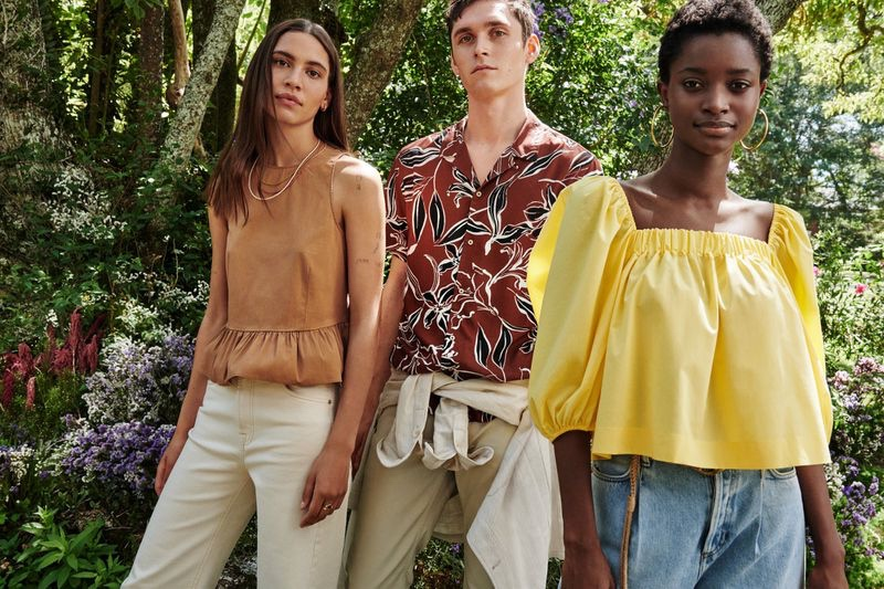 Kaya Wilkins, Anders Hayward, and Oumie Jammeh appear in Mango's summer 2020 campaign.