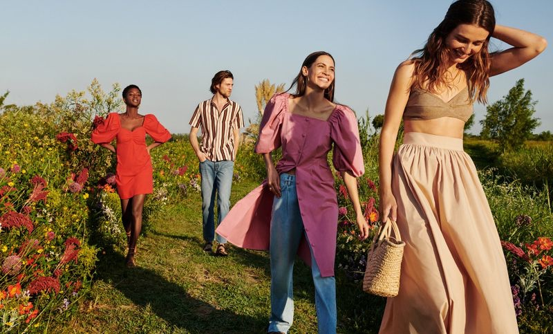 Mango enlists Oumie Jammeh, Boyd Gates, Kaya Wilkins, and Andreea Diaconu as the stars of its summer 2020 campaign.
