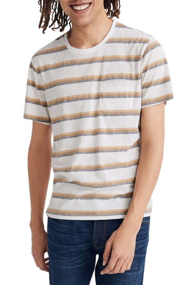 Men's Madewell Allday Griswald Stripe Triblend Crewneck Pocket T-Shirt, Size XX-Large - White