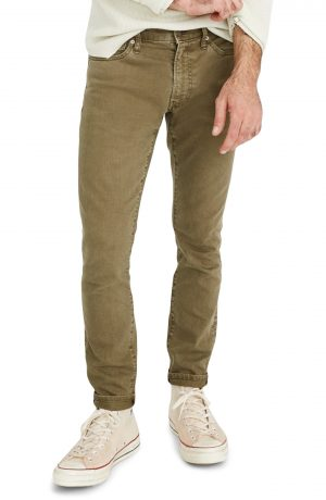 Men's Madewell Garment Dyed Skinny Everyday Flex Jeans, Size 31 x 32 - Green