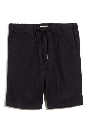 Men's Madewell Garment Dyed Twill Drawstring Shorts, Size Small - Black