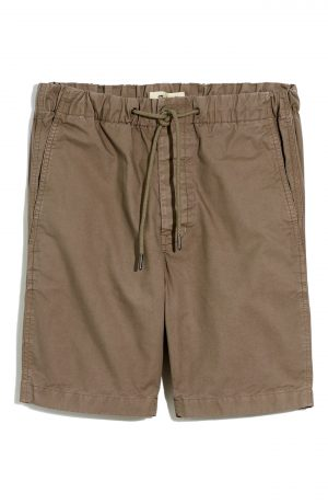 Men's Madewell Garment Dyed Twill Drawstring Shorts, Size X-Large - Green
