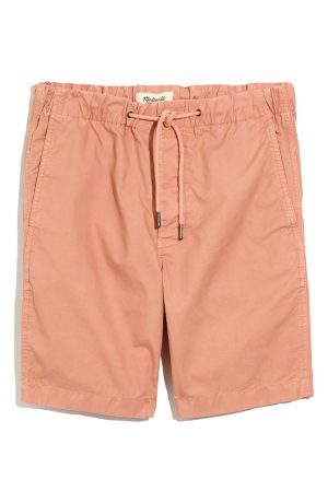 Men's Madewell Garment Dyed Twill Drawstring Shorts, Size X-Small - Coral