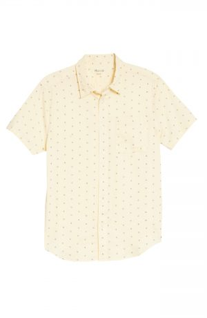 Men's Madewell Perfect Short Sleeve Shirt, Size X-Small - Ivory
