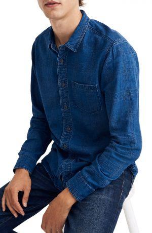 Men's Madewell Textured Plaid Indigo Long Sleeve Shirt, Size Large - Blue