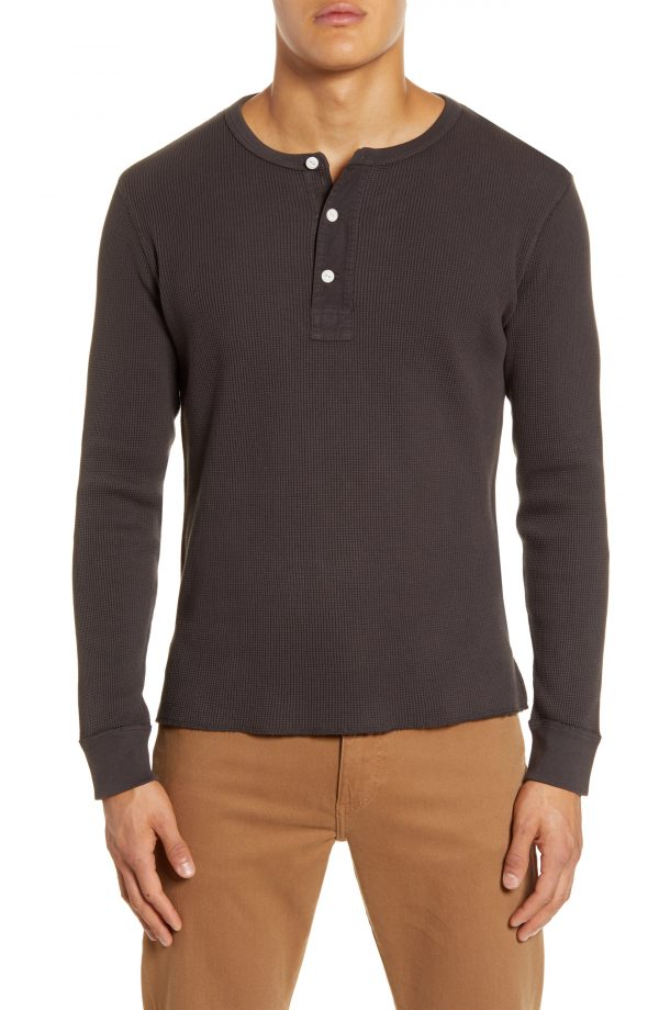 Men's Madewell Thermal Henley T-Shirt, Size X-Large - Black