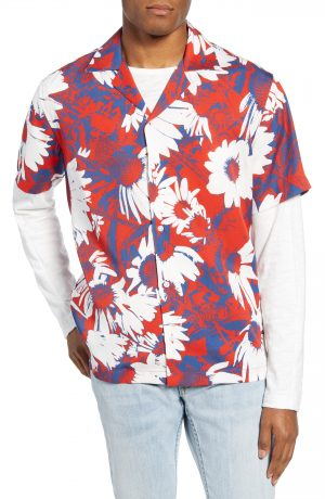 Men's Saturdays Nyc Canty Daisy Print Short Sleeve Button-Up Camp Shirt, Size XX-Large - Red