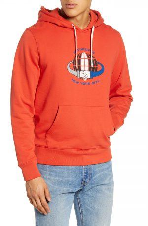 Men's Saturdays Nyc Ditch Handshake Graphic Hooded Sweatshirt, Size Small - Red