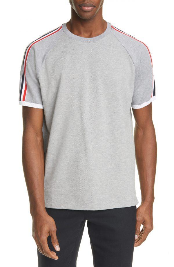 Men's Thom Browne Stripe Cotton Pique T-Shirt, Size 1 - Grey