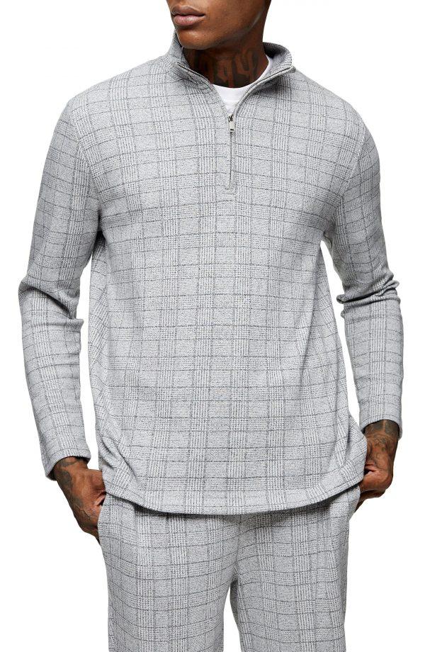 Men's Topman Check Texture Quarter Zip Shirt, Size Large - Grey