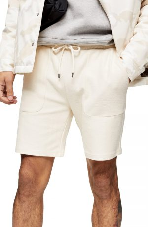 Men's Topman Classic Fit Cotton Twill Shorts, Size X-Small - Ivory