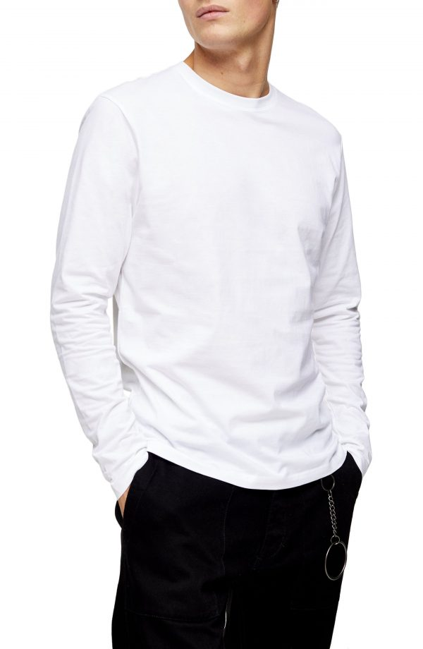 Men's Topman Classic Long Sleeve Cotton T-Shirt, Size X-Small - White