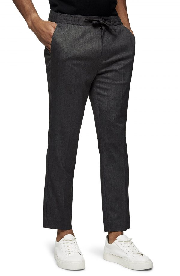 Men's Topman Crop Drawstring Pants, Size 30 x 32 - Grey