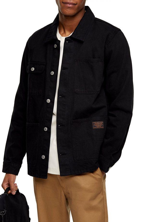 Men's Topman Denim Chore Classic Fit Jacket, Size Large - Black
