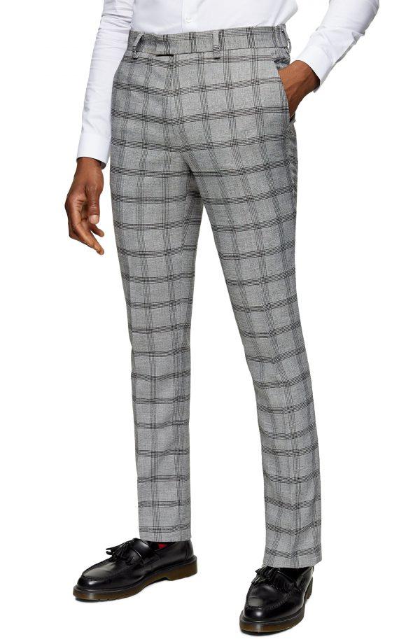 Men's Topman Flat Front Check Trousers, Size 28 x 32 - Grey