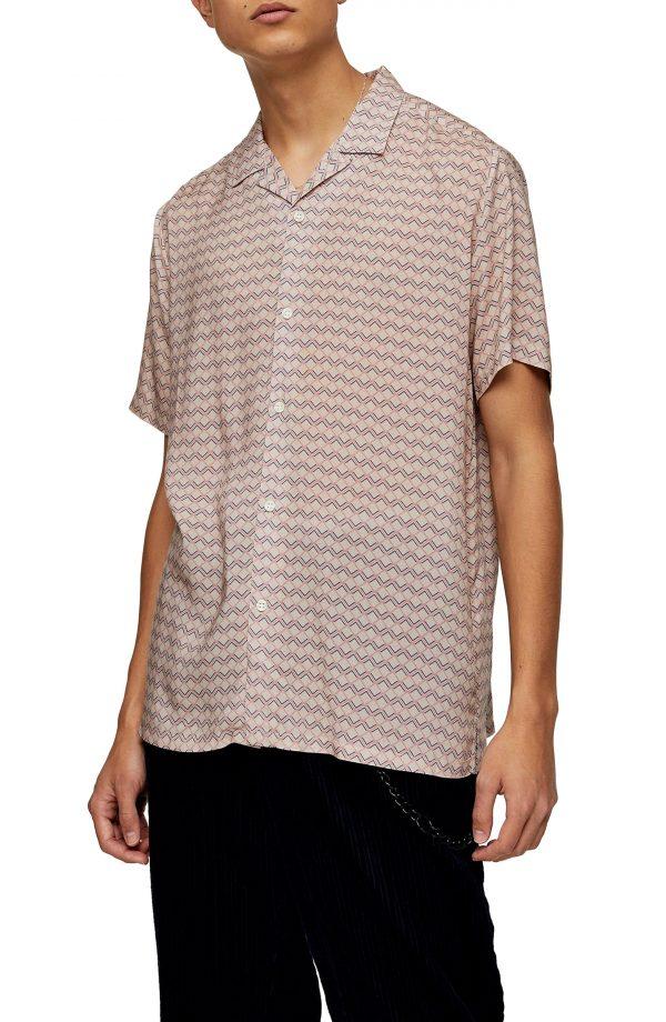 Men's Topman Geometric Print Revere Shirt, Size Large - Pink
