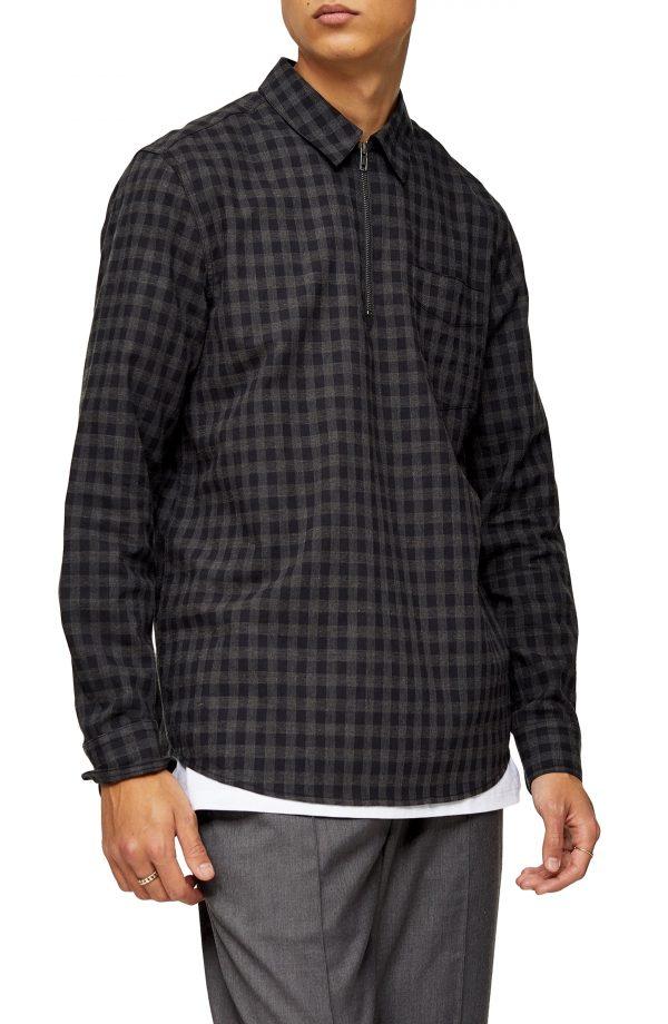 Men's Topman Gingham Check Quarter Zip Shirt, Size Medium - Black