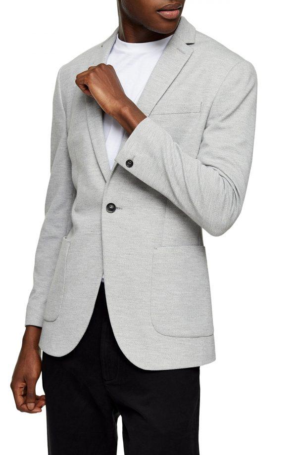 Men's Topman Jersey Skinny Fit Blazer, Size 34R - Grey