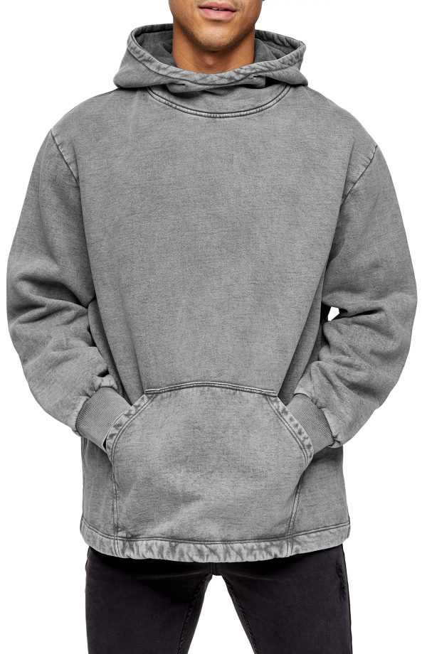 Men's Topman Kato Acid Wash Hoodie, Size Medium - Black