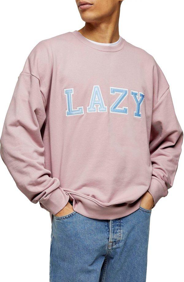 Men's Topman Lazy Applique Crewneck Sweatshirt, Size Large - Purple