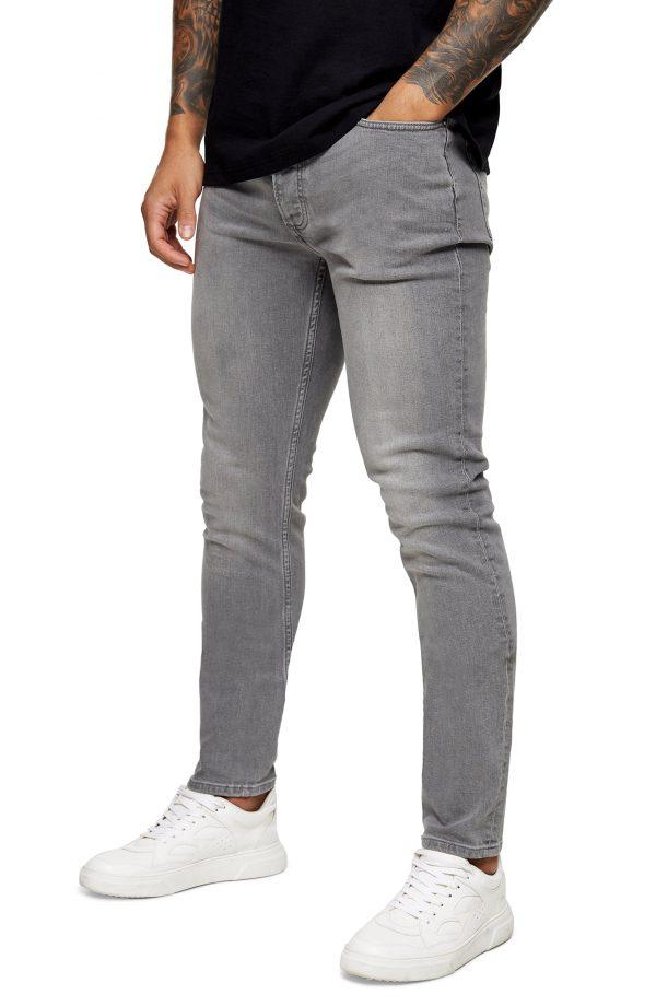 Men's Topman Mid Gray Skinny Jeans, Size 32 x 34 - Grey