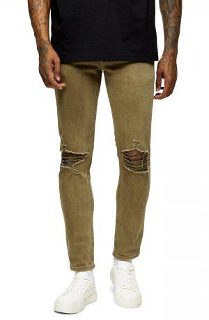 Men's Topman Ripped Skinny Fit Jeans, Size 30 x 32 - Green