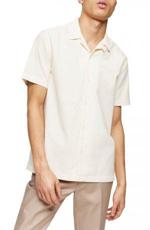 Men's Topman Short Sleeve Button-Up Corduroy Camp Shirt, Size Large - Ivory