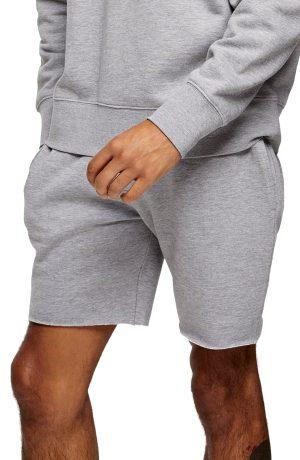Men's Topman Skinny Fit Drawstring Knit Shorts, Size X-Large - Grey