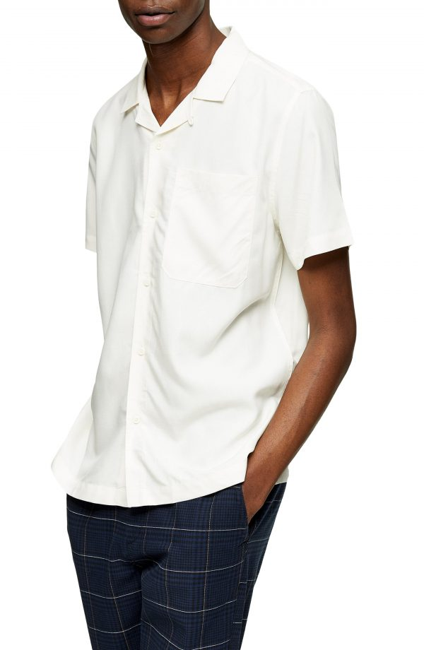Men's Topman Slim Fit Solid Short Sleeve Button-Up Shirt, Size Large - Ivory